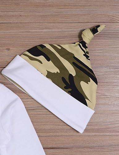 Sfuzwg Nouveau-n/é b/éb/é gar/çon v/êtements Nouveau /à l/équipage 3 pcs Tenues Barboteuse Chapeau Automne Hiver Camouflage Pantalon Ensembles