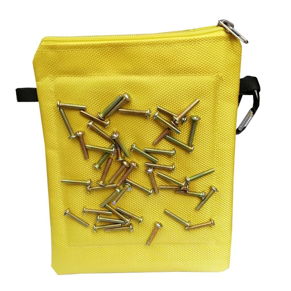 Magnetic Tool Waistpocket Waterproof Canvas Multi-purpose Socket Bag with Waist Carabiner Clip For Holding Tools Screws Nails Nuts Bolts Washers Drill Bits for Carpenters Handymen Woodworking HSZ-12-D