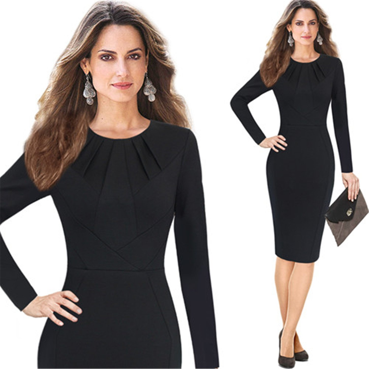 Crissiste Dresses Autumn Winter Pleated Neck Patchwork Office Party Cocktail Bodycon Sheath Dress 8428 Black XL