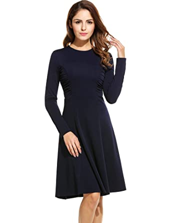 Image Unavailable. Image not available for. Color  ANGVNS Women s Office  Dress Round Neck Long Sleeve ... be9181555b