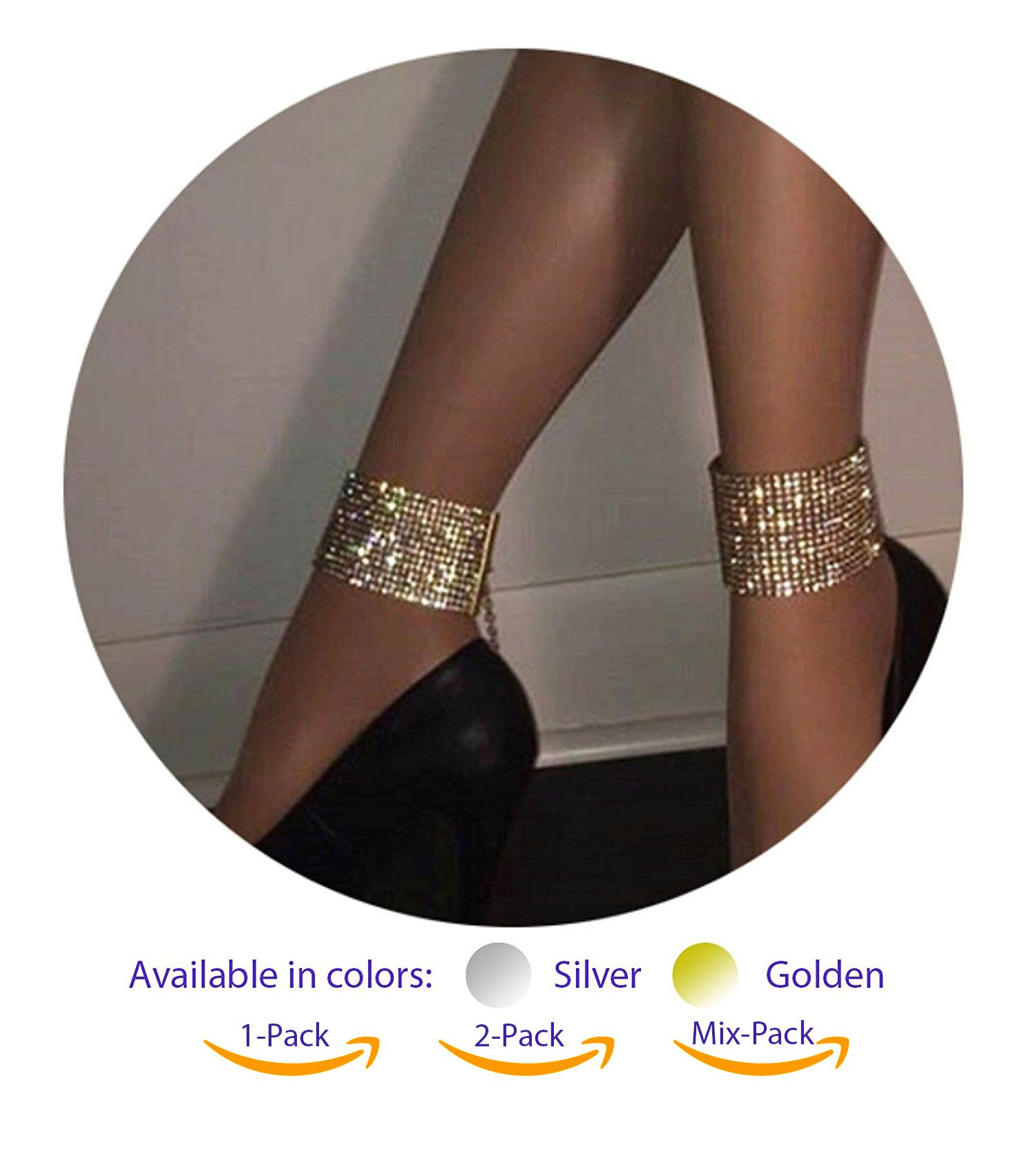 ZeeMoe Fashion Sexy Thick Sparkly Bracelet Anklet (Silver 2-Pack)
