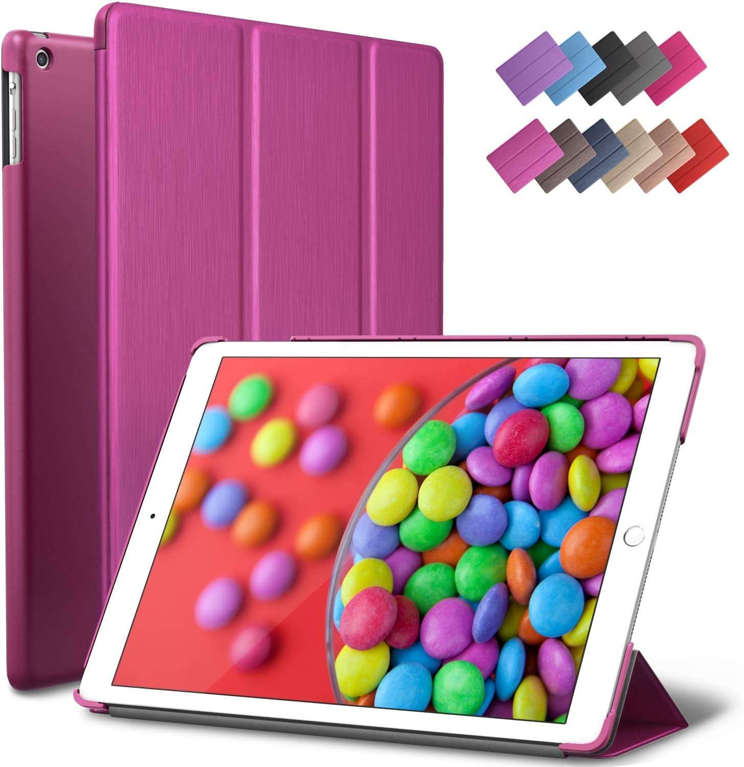 iPad Air Case, ROARTZ Metallic Magenta Slim Fit Smart Rubber Coated Folio Case Hard Shell Cover Light-Weight Auto Wake/Sleep for Apple iPad Air 1st Generation Model A1474/A1475/A1476 Retina Display