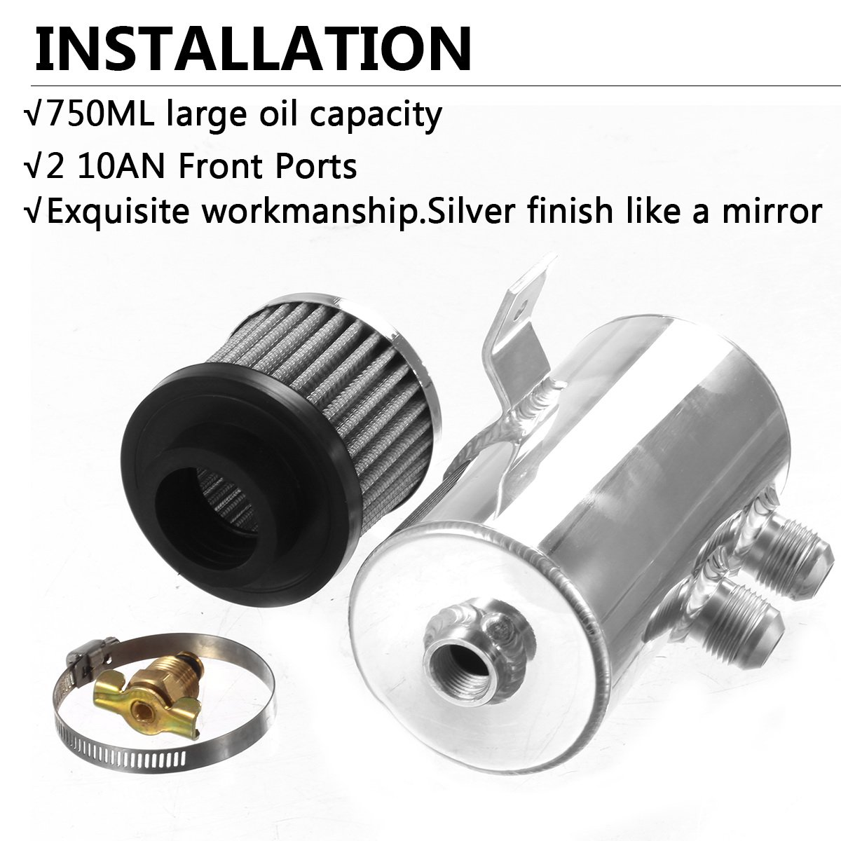 Vincos Universal Aluminum Engine Brushed Baffled Oil Catch Can Kit Coolant Overflow Tank Reservoir 750ML w/Breather Filter Kit Cylinder 2 Front Ports 10AN (Silver) by Vincos (Image #4)