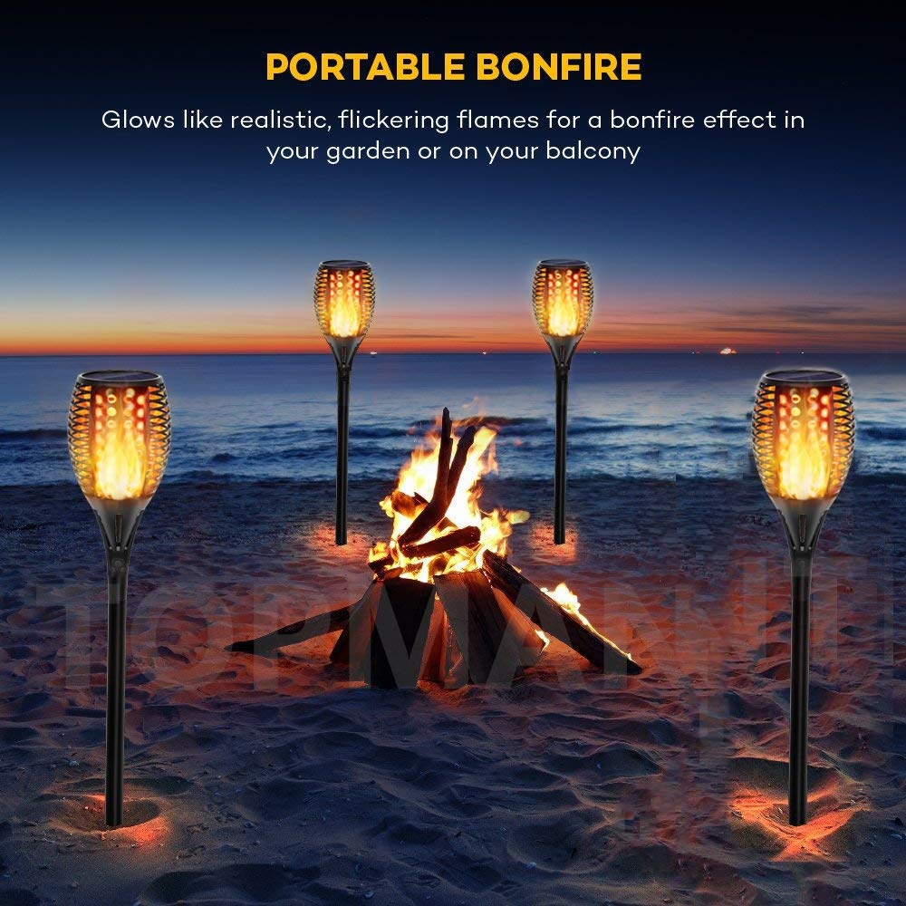 Topmante Upgraded Solar Lights 96 LED 42.9 Inch, Waterproof Flickering Flames Torches Lights Outdoor Solar Spotlights Landscape Lighting Dusk to Dawn Auto On/Off Security Torch Light (4 Pack) by Topmante (Image #6)