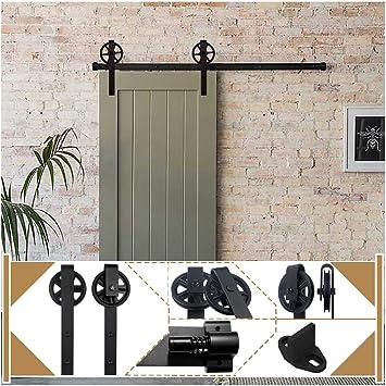 2X Sliding Barn Door Wheel Hardware Track Kit Closet Cupboard Rail Roller Patio