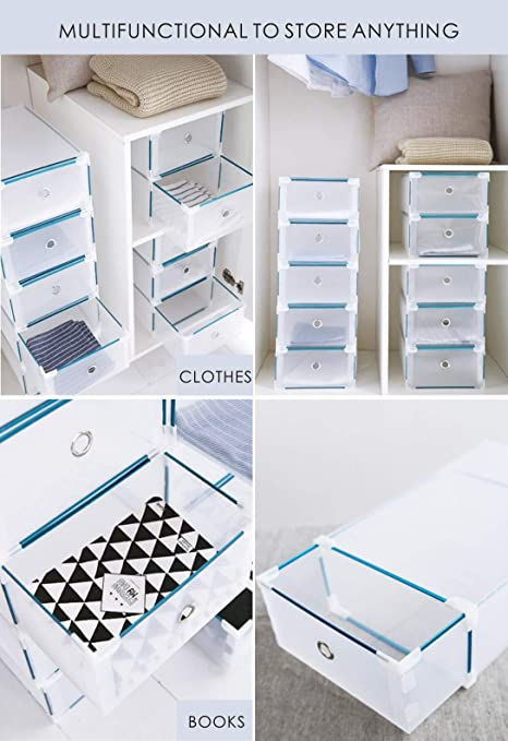 Amazon.com: CDGroup [10 Pack] Full Set Box Plastic Folding Drawer Transparent Box Container Shoes Foldable Stackable Container. Kids Women Clear Shoe Box ...