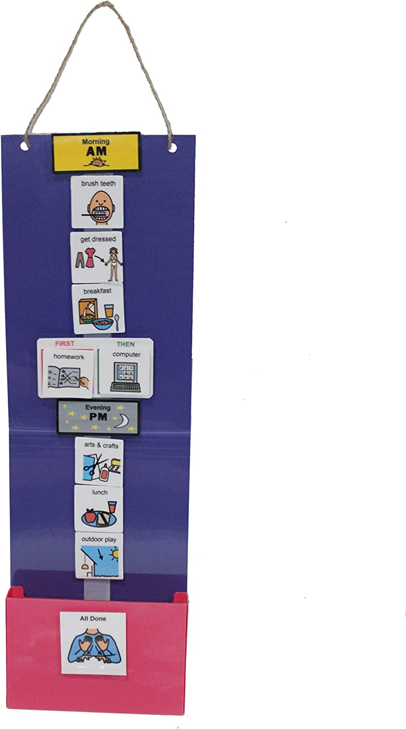 Kids Plastic or Laminated Visual Schedule Calendar Chart for Home, School, Centers, Photo Cards: Chores, Reinforcers, School, Behavior (One Strip Purple Schedule, Laminated/Cartoon 30 Home Cards)