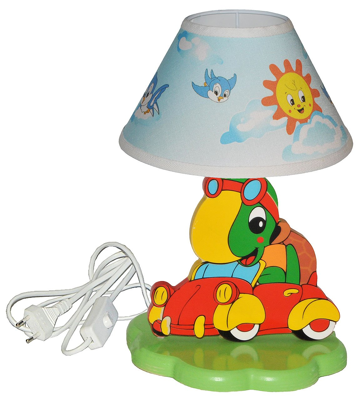 Unbekannt hochwertige Tischlampe aus Holz - Schildkrö te im Auto - incl. Namen - 37 cm hoch - Kinderzimmer Tischleuchte - Lampe Tiere - Nachttischlampe fü r Kinder Stehla.. Kinder-land