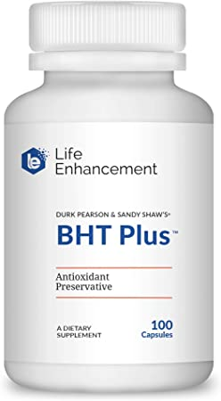 Life Enhancement BHT Plus | Antioxidant Preservative | 180mg BHT & 80mg Vitamin C | 100 Serving