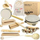 Stoie's International Wooden Music Set for Toddlers and Kids- Eco Friendly Musical Set with A Cotton Storage Bag - Promote En
