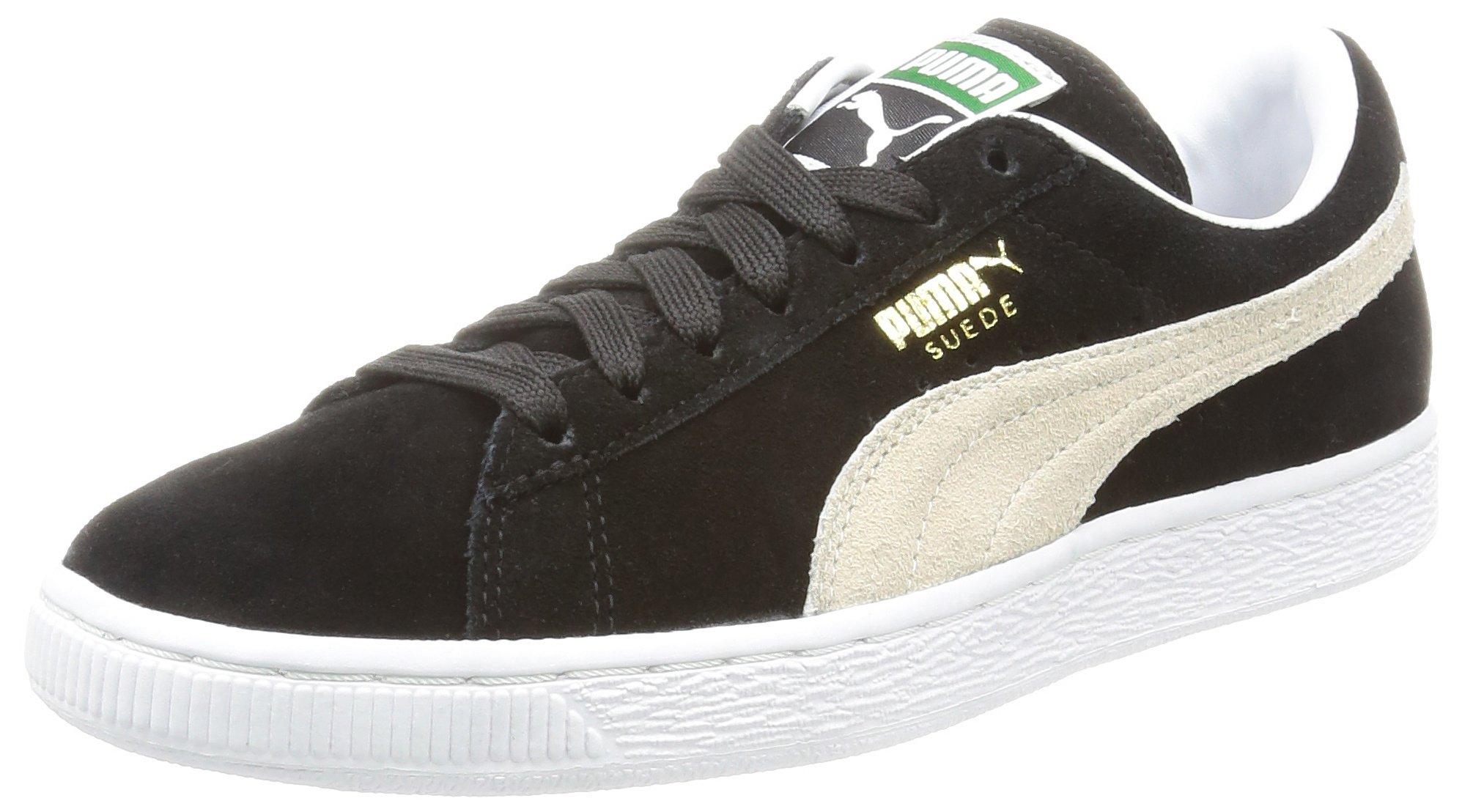 Puma Suede Classic+ Causal Basketball Shoes (US Men 4.5/ Eur 36/ 22.5 CM, Black- White)