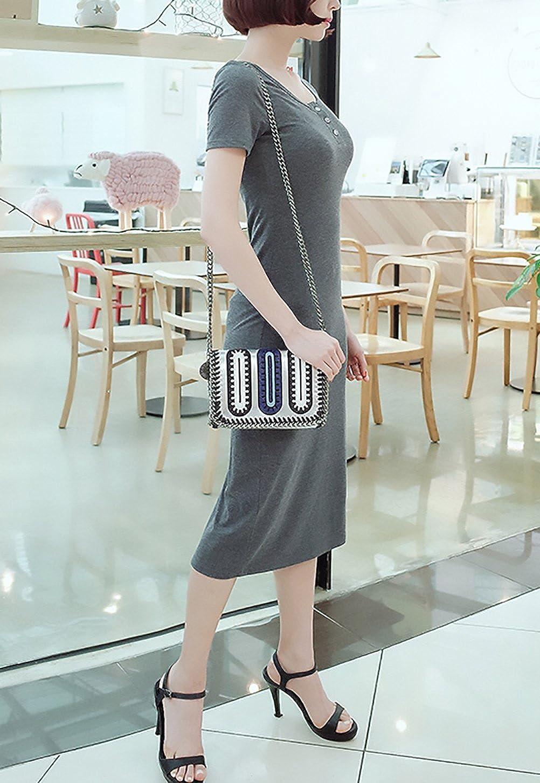 Vestiti Estivi Donna Elegante Cucitura Stripe Manica Corta Rotondo Collo  Ragazze Giovane Senza Bretelle Vestiti Corto Con Tasche Moda Casual Pieghe  Party ... 44fbf375d19