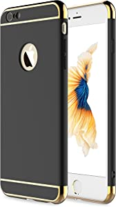 """iPhone 6 Case, iPhone 6s Case,RORSOU 3 in 1 Ultra Thin and Slim Hard Case Coated Non Slip Matte Surface with Electroplate Frame for Apple iPhone 6 (4.7"""") and iPhone 6S (4.7"""") - Black and Gold"""
