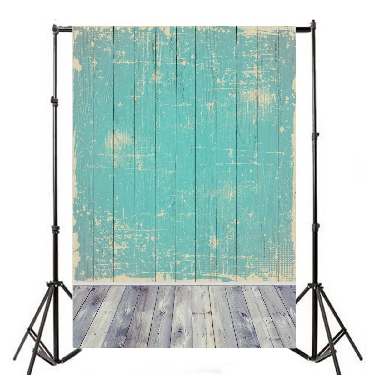 Yeele 6x9ft Old Vintage Shabby Blue Wood Floor Photography Backdrop Vinyl Grunge Wooden Plank Nostalgia Peeling Weathered Hardwood Board Pattern Background Photo Video Studio Props Drape Wallpaper