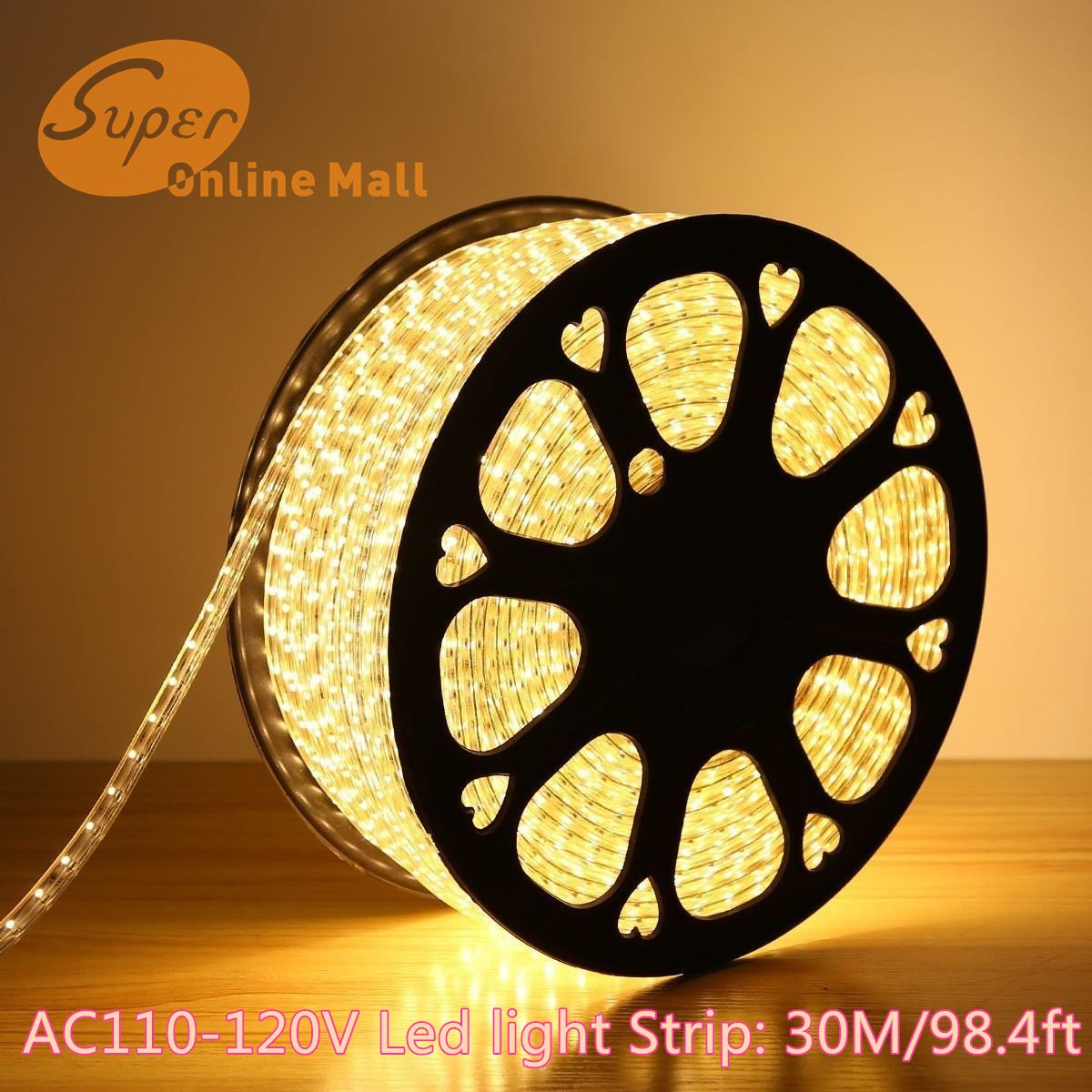 SuperonlineMall AC 110-120V Flexible Waterproof LED Strip Lights, 30m/98.4ft - Warm White by SuperonlineMall