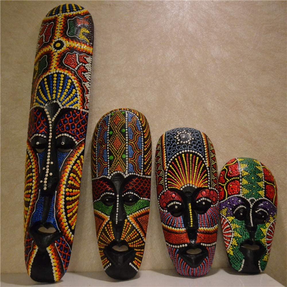 APAN Wooden Mask African Art Wall Masks and Sculptures-Africa Home Mask Decor Painted in Traditional Style-4 Pcs/Set
