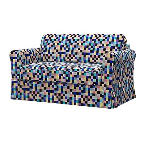 Soferia - IKEA HAGALUND Funda para sofá Cama, Mozaik Blue ...