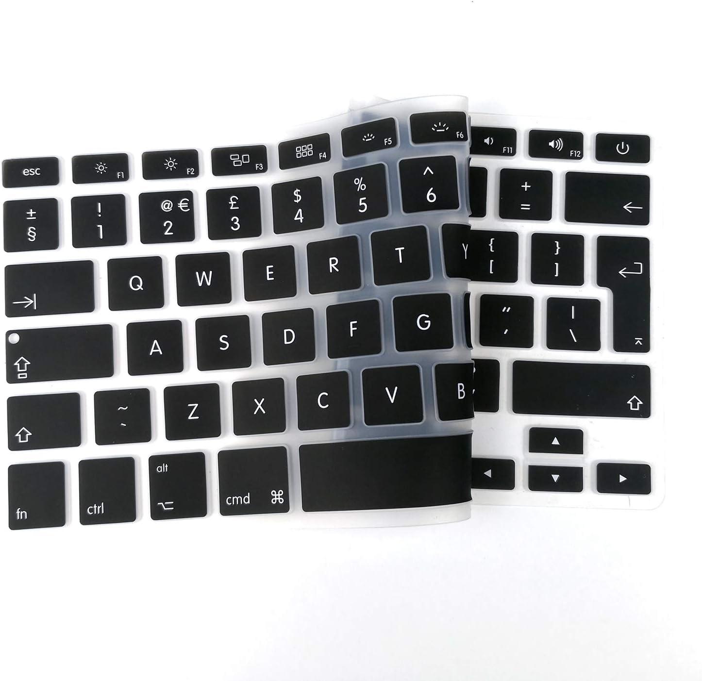 EU Layout Tastatur Schutzfolie Silikon Schwarz TECOOL Tastaturschutz f/ür 2018 Neu MacBook 13 Air A1932 mit Retina Display und Touch ID