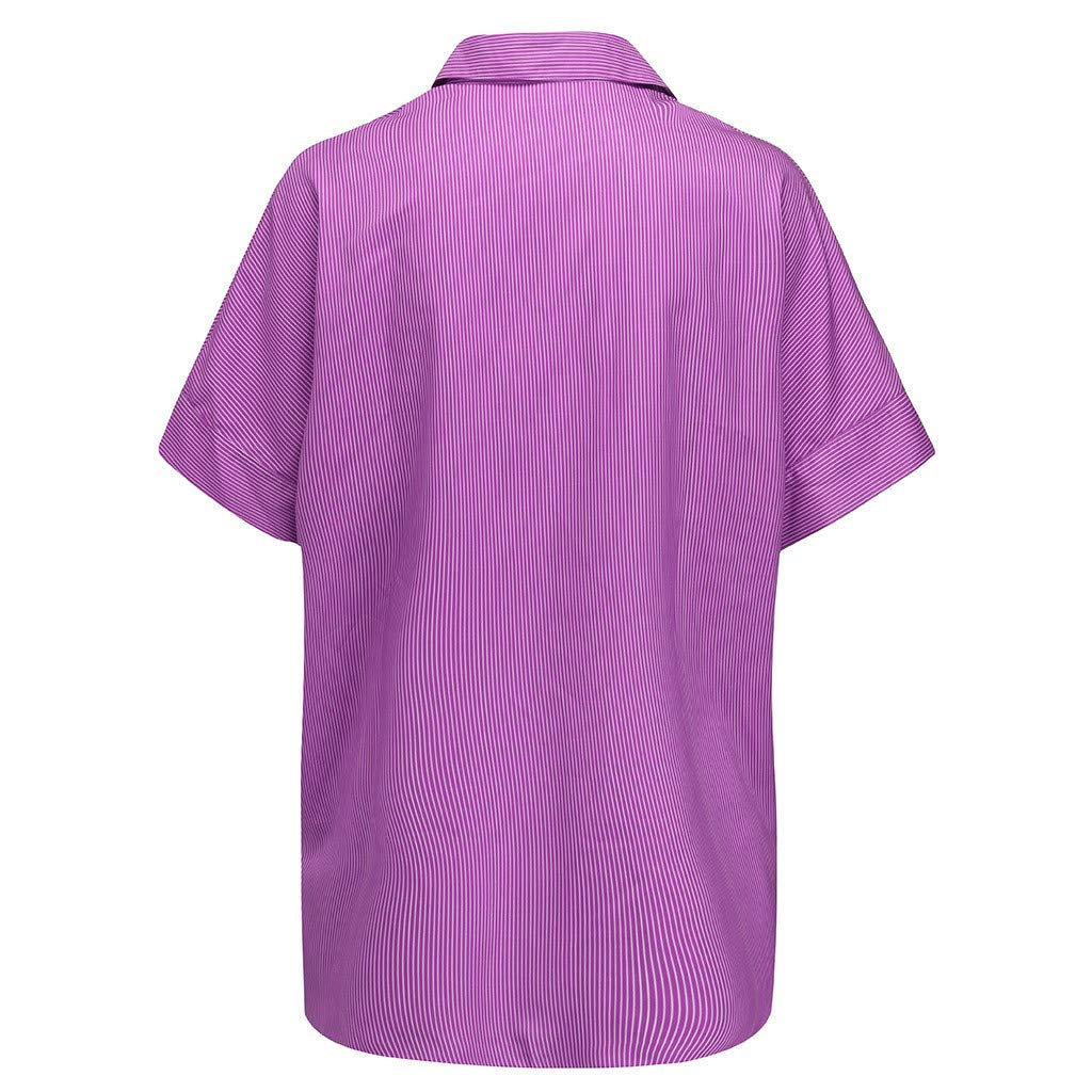 Women Lapel Stripe Printed T-Shirt Plus Size Turn-Down Collar Tops Loose Blouse
