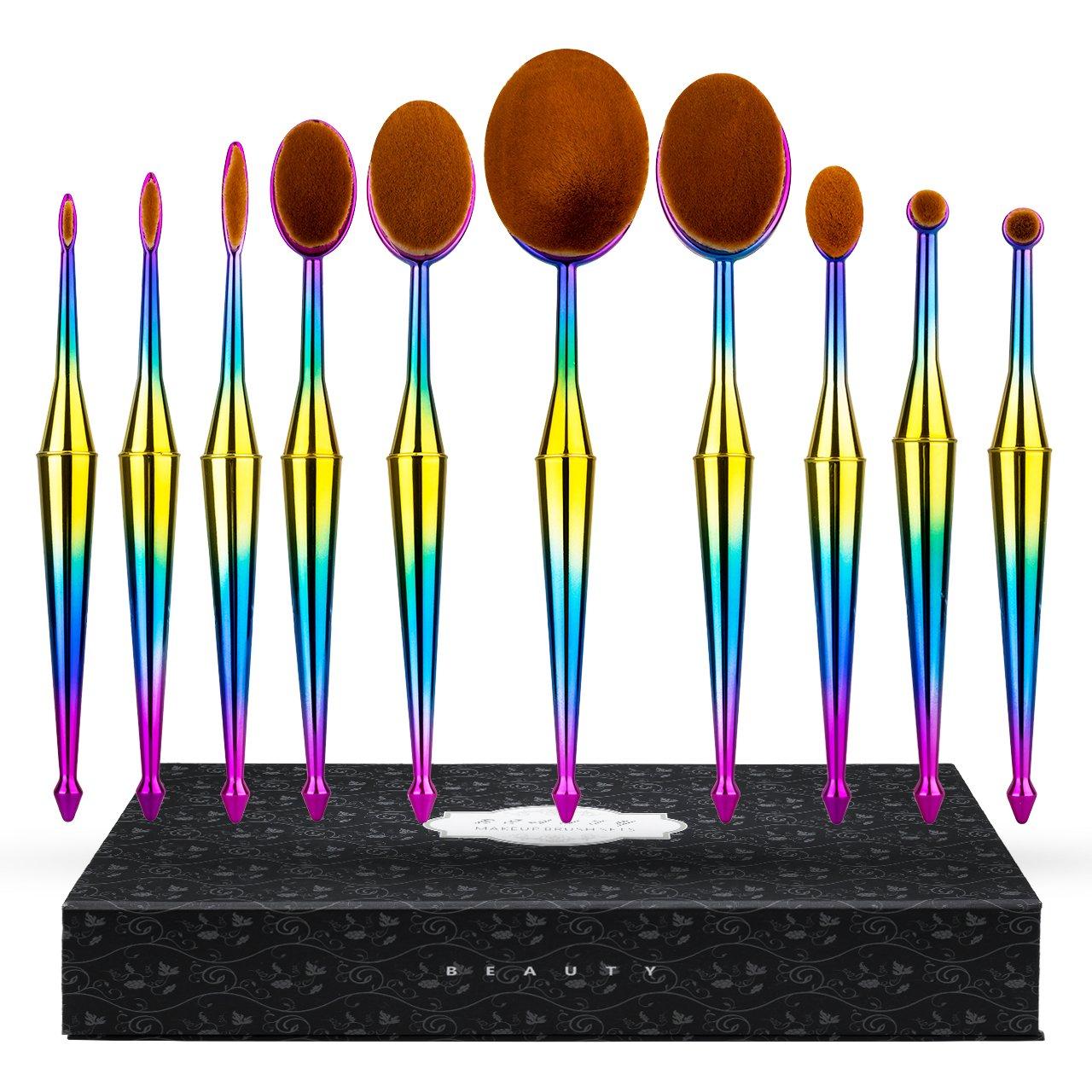 Makeup Brushes, ElleSye Cosmetic Brush 10-Piece Set, Toothbrush Shaped, Colorful Handle, Soft Synthetic Fiber Oral Makeup Brush for Foundation, Powder, BB Cream, Eyeliner, Concealer, Countour, Blush
