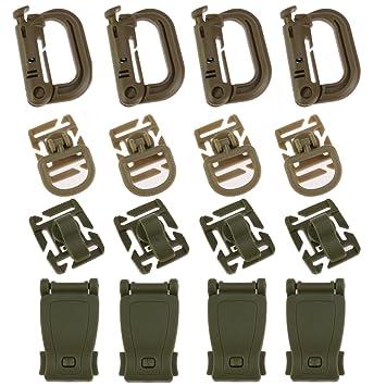 ycnk 16pcs táctico bolsa de accesorios para cinchas Molle apego mochilas con hebillas Grimloc bloqueo hebilla