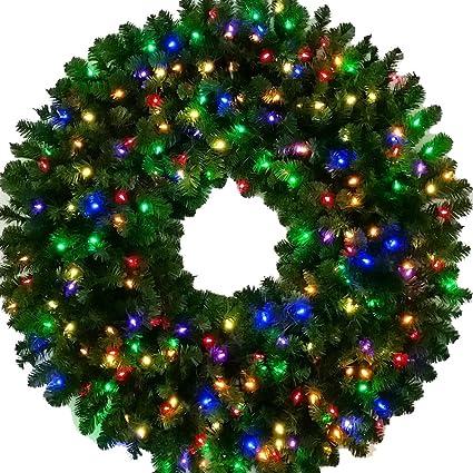 4 Foot - Multi-Color L.E.D. Christmas Wreath - 48 inch - 200 LED Lights - Amazon.com: 4 Foot - Multi-Color L.E.D. Christmas Wreath - 48 Inch