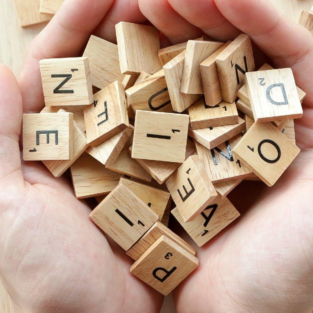 A-Z Capital Letters for Crafts Spelling Pendants DIY Wood Gift Decoration 500PCS Scrabble Letters for Crafts,Wood Scrabble Tiles