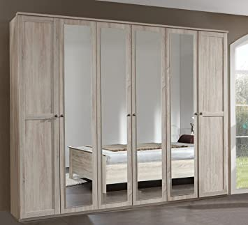 mirror effect furniture. Wimex CHALET 6 Door Oak Effect Wardrobe Mirror Bedroom Furniture German Modern Mirrored (6