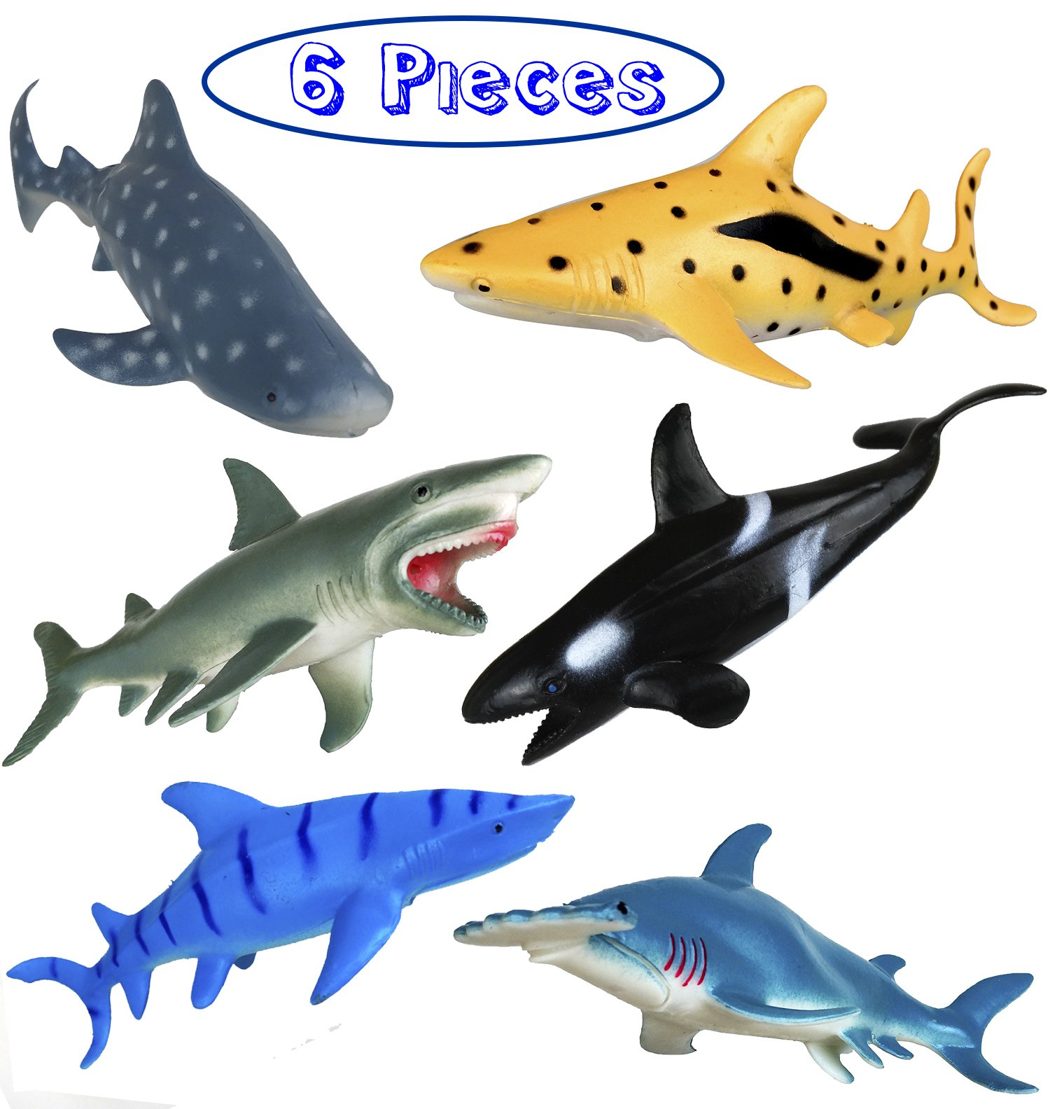 Shark Toy Figures 7 Inches - Ocean Animals, Bath Toys Rubber Figures - 6 Pieces Set
