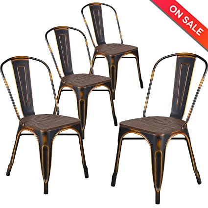Excellent Amazon.com - LCH Metal Dining Chair Indoor/Outdoor Stackable with  CI75