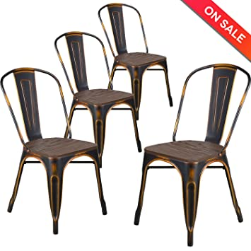 LCH Industrial Metal Wood Top Stackable Dining Chairs Set Of 4 Vintage Indoor Outdoor