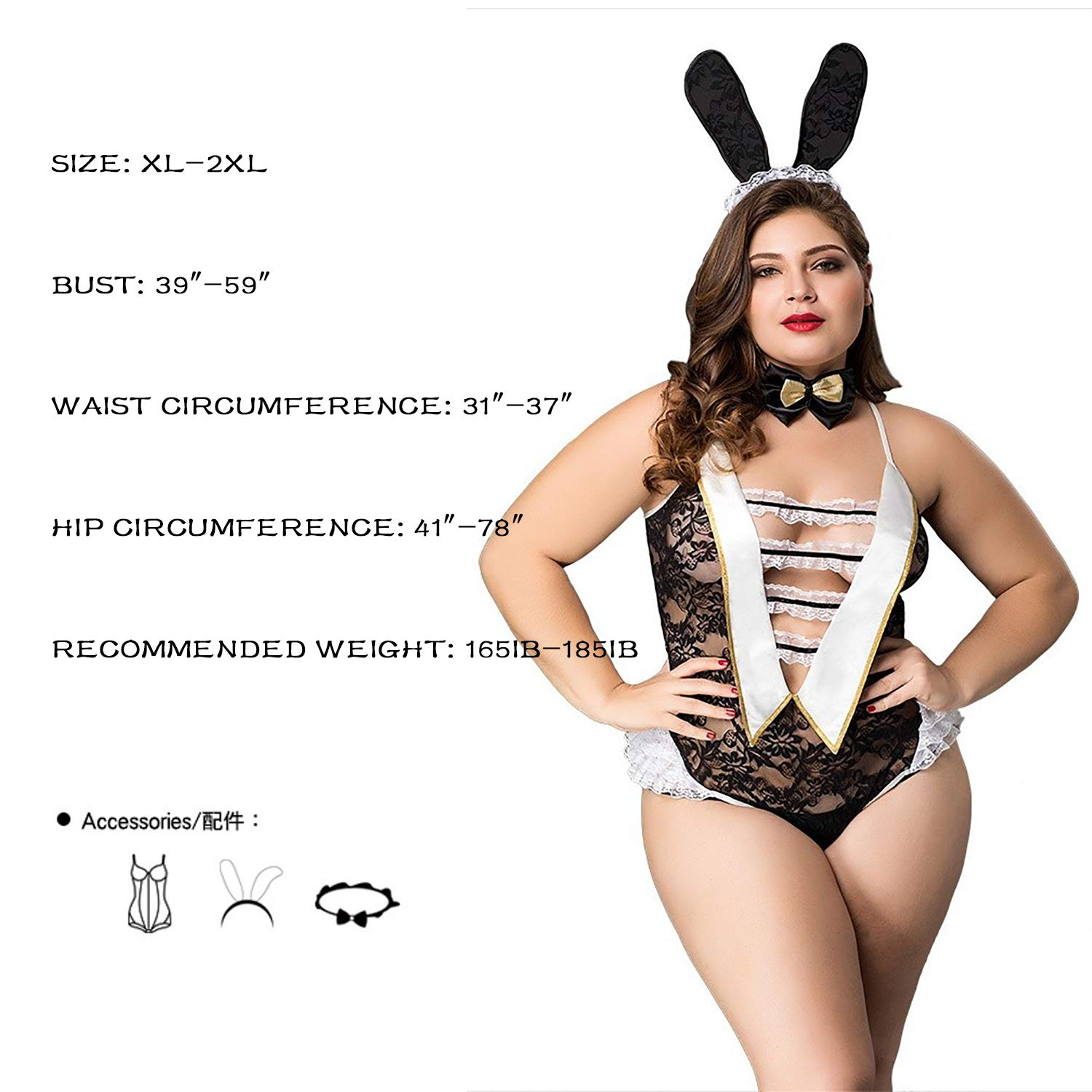 ad5c165e7a Amazon.com  Women s Sexy Halloween Decorations Bunny Playsuit Set Rabbit  Outfit Cosplay  Clothing