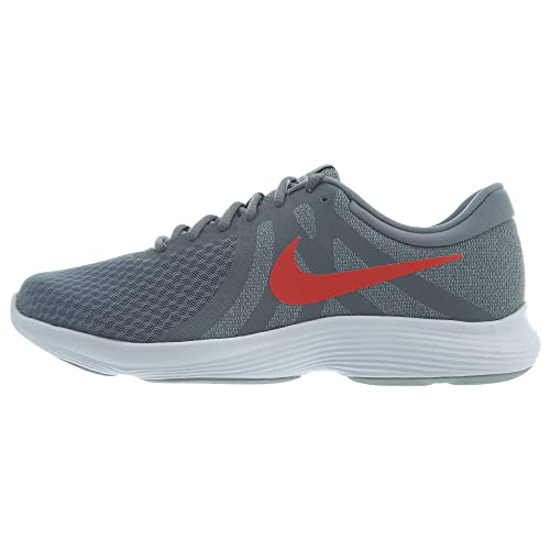 5cf519e7c4d94 Nike Men s Revolution 4 Cool Grey Habanero Red - Wolf Grey - White Running  Shoes
