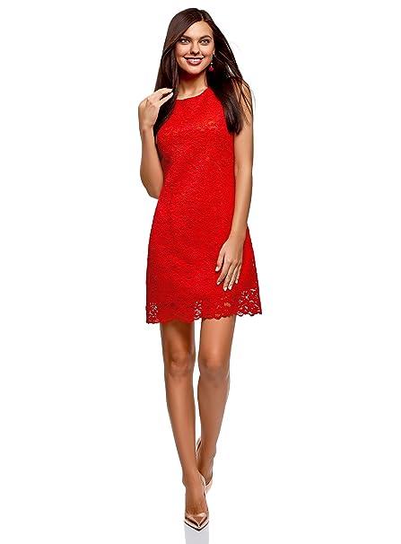 oodji Ultra Mujer Vestido de Encaje, Rojo, ES 36 / XS