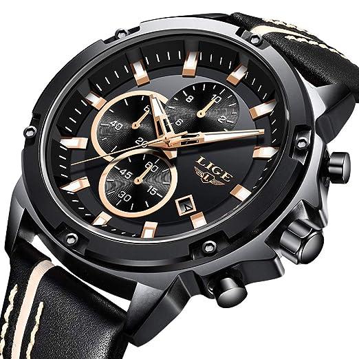 LIGE Relojes para Hombres Cronógrafo Impermeable Cuarzo Analógico Relojes Hombre Moda Deportes Negro Correa de Cuero: Amazon.es: Relojes
