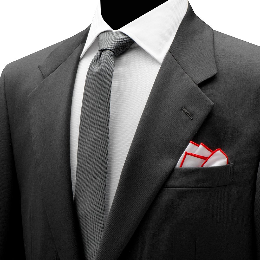 Ox and Bull Trading Cocktail Martini Recipe White & Red Embroidered Edged Trim Pocket Square