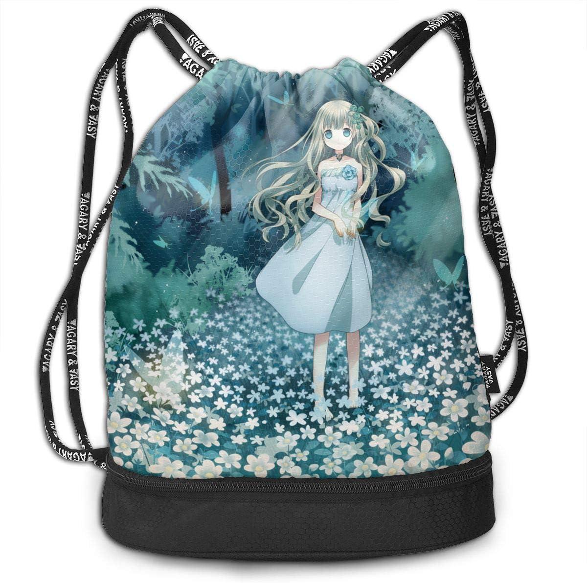 HUOPR5Q Anime Flower Girl Drawstring Backpack Sport Gym Sack Shoulder Bulk Bag Dance Bag for School Travel