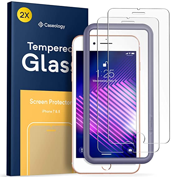 official photos a7961 7e1bb Caseology Tempered Glass for Apple iPhone 8 Screen Protector (2017) / for  iPhone 7 Screen Protector (2017) - 2 Pack