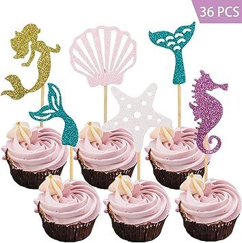 Amazon.com: Haojiake - Juego de 36 adornos para cupcakes de ...