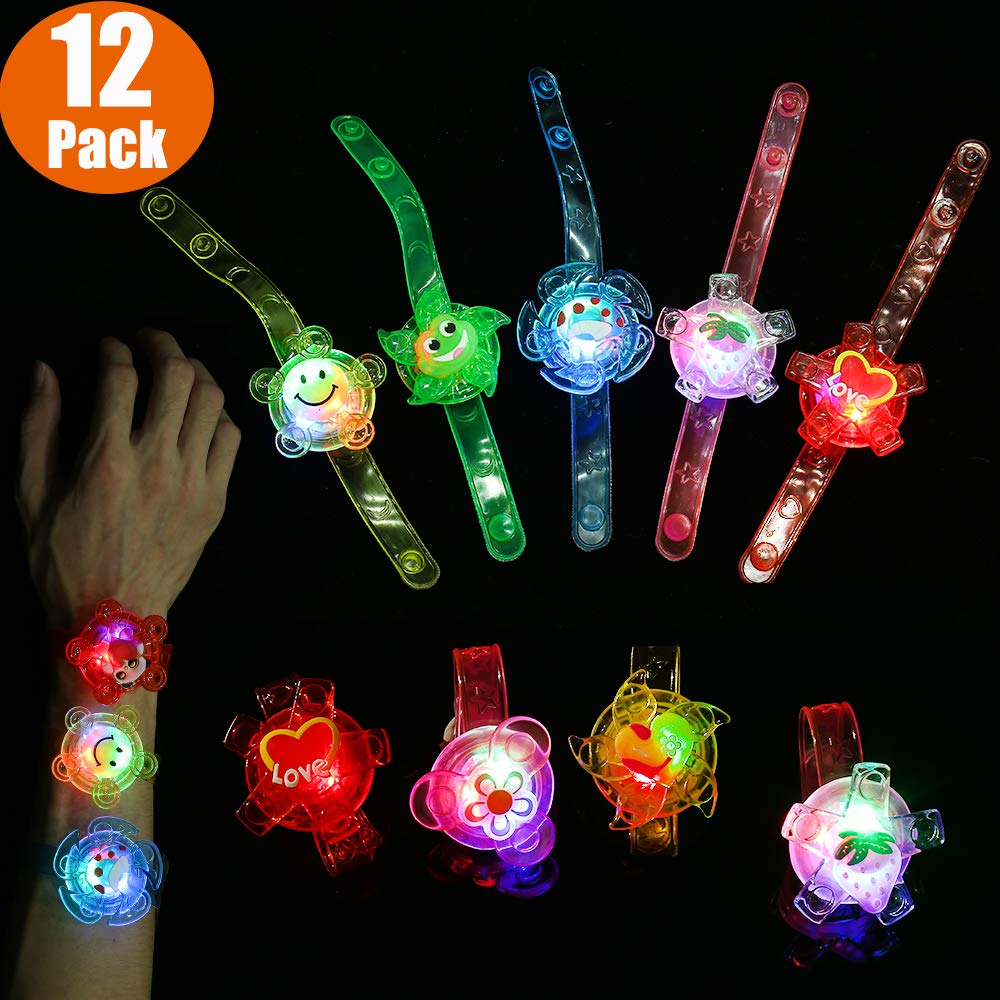Mikulala 12 Pack Light Up Toys Glow In The Dark Birthday Party Favors for Kids Prizes Box Toys for Classroom Hand Spin Stress Relief Anxiety Toys Bulk Fidget Toys Boys Girls LED Neon Party Supplies