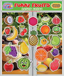 Fun Fruits Thick Gel Clings – Reusable Removable Glass Window Clings for Kids, Toddlers and Adults - Incredible Removable Gel Decals of Oranges, Apples, Bananas,Home, Airplane, Classroom, Nursery