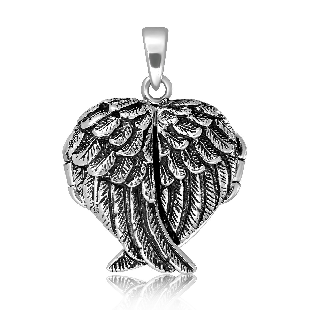 WithLoveSilver 925 Sterling Silver Feather Angel Wing Charms Pendant Locket