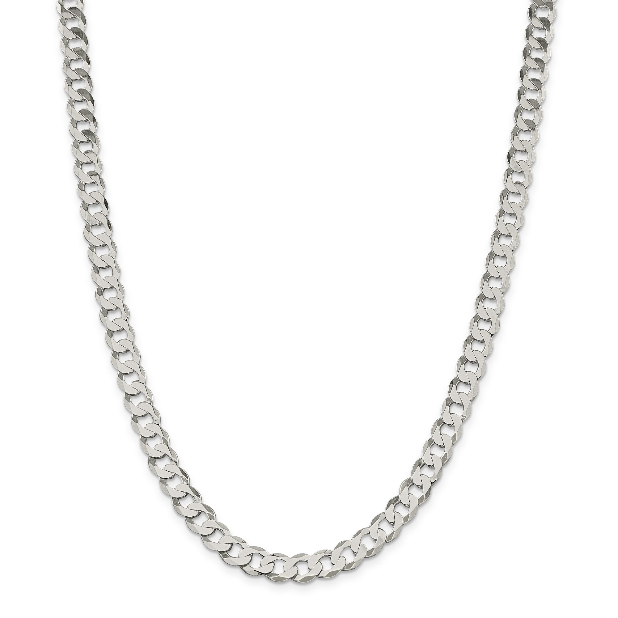 ICE CARATS 925 Sterling Silver 8mm Close Link Flat Curb Chain Necklace 24 Inch Fine Jewelry Gift Set For Women Heart