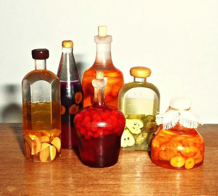 Bottles with juice, rustic style,apple juice,cherry juice, peach juice,Prune Juice ,apricot juice. Dollhouse miniature 1:12