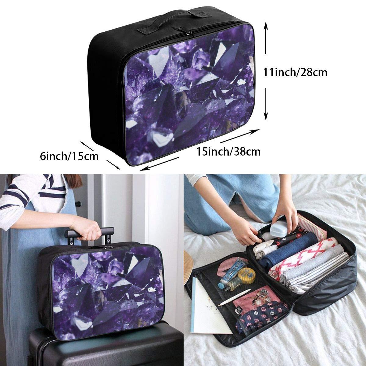 Travel Luggage Duffle Bag Lightweight Portable Handbag Purple Crystal Sponge Print Large Capacity Waterproof Foldable Storage Tote
