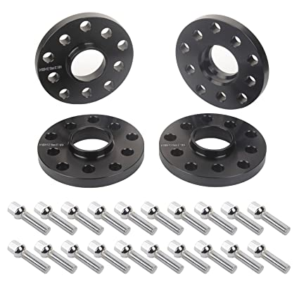 APL 4pcs 15mm 5x112 5x100 Black Hubcentric Wheel Spacers with 20pc Silver Lug Bolts (Ball