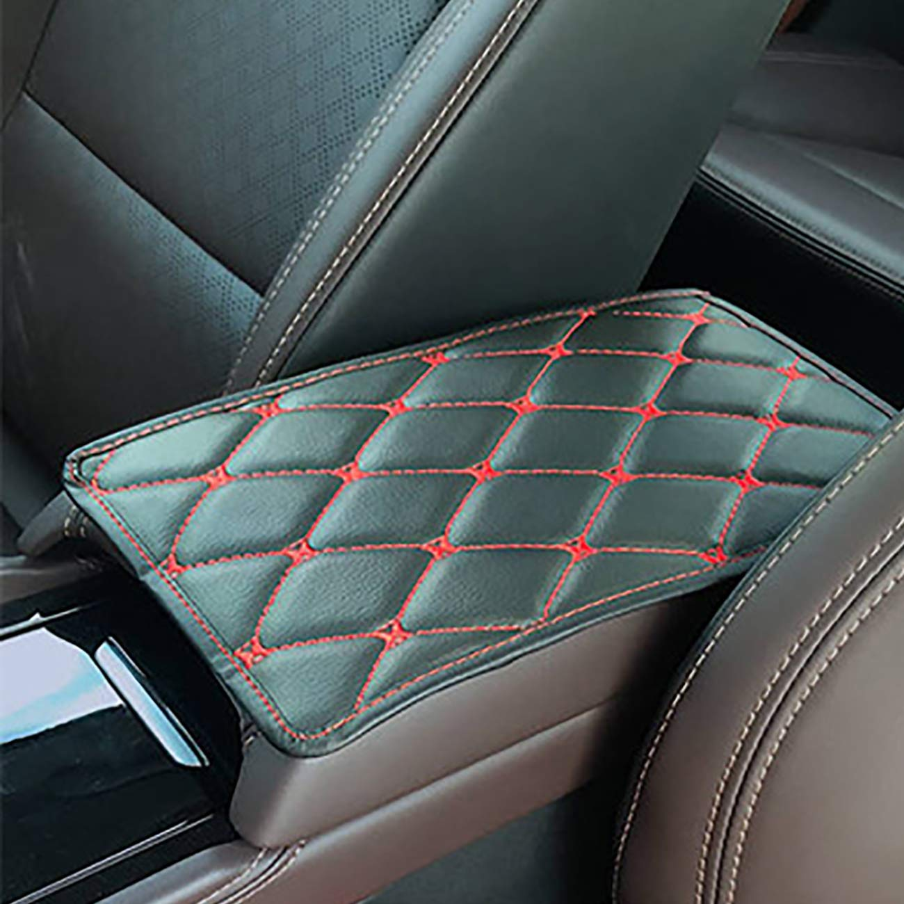 PU Leather Auto Arm Rest Cushion Pads Universal Car Armrest Cover Protector Uheng Car Center Console Cover Fit for Most Vehicle Truck Car Accessories SUV