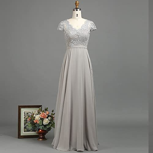 Amazon.com  Grey Lace Bridesmaid Dress Cap Sleeve Floor Length With ... 4bd73f367