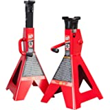 BIG RED T46202 Torin Steel Jack Stands: 6 Ton (12,000 lb) Capacity, Red, 1 Pair