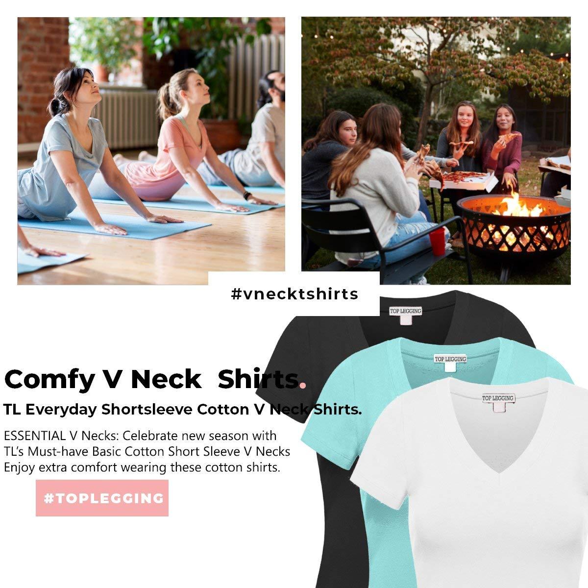 770eafbc80c6 Amazon.com: TOP LEGGING TL Comfy Basic Cotton Short Sleeve Solid V-Neck  Shirts for Women - Single or 3PK: Clothing